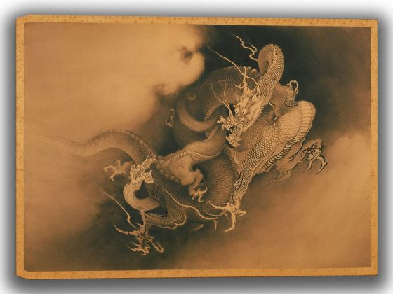 Hogai, Kano: Two Dragons in the Clouds. Fine Art Canvas. Sizes: A4/A3/A2/A1 (0039)